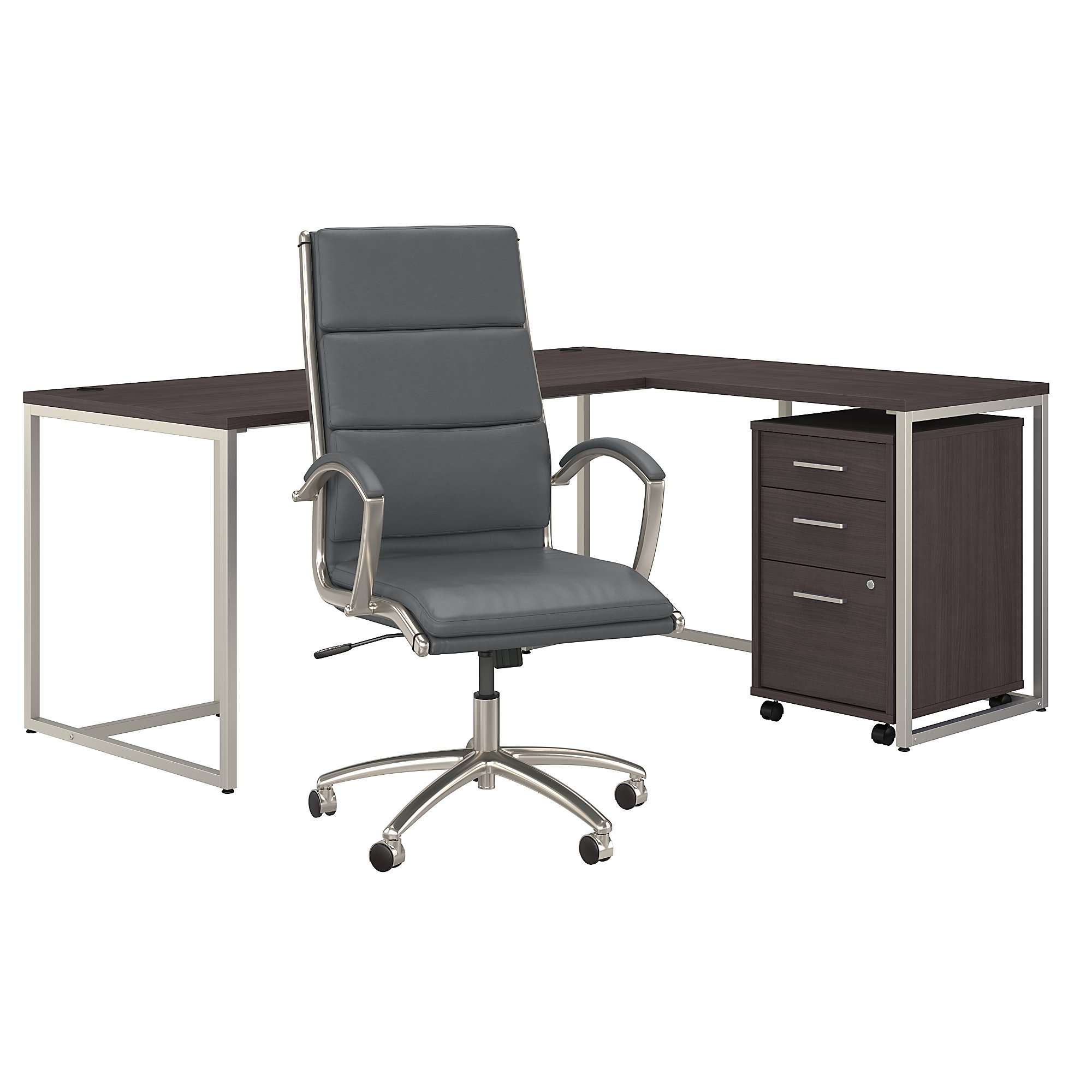 method by kathy ireland office furniture and chair set in storm gray