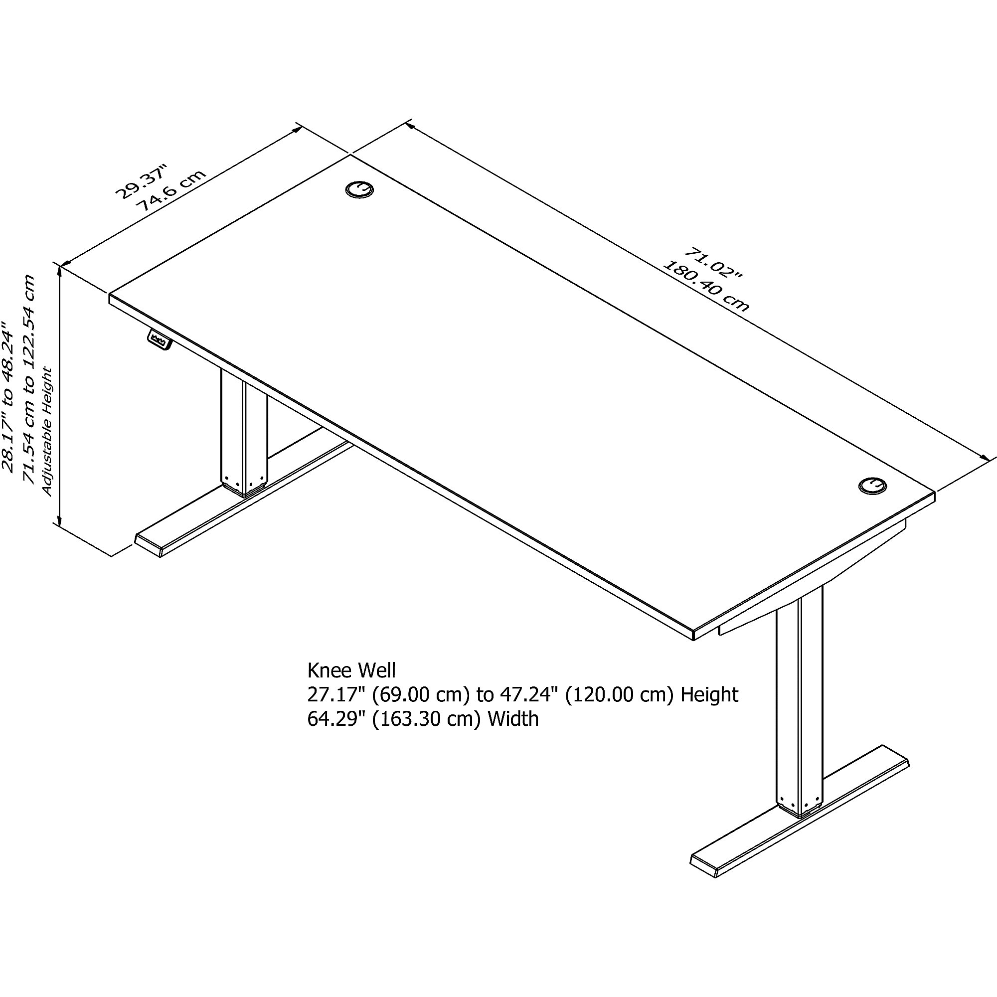 move 40 72x30 adjustable height desk line drawing