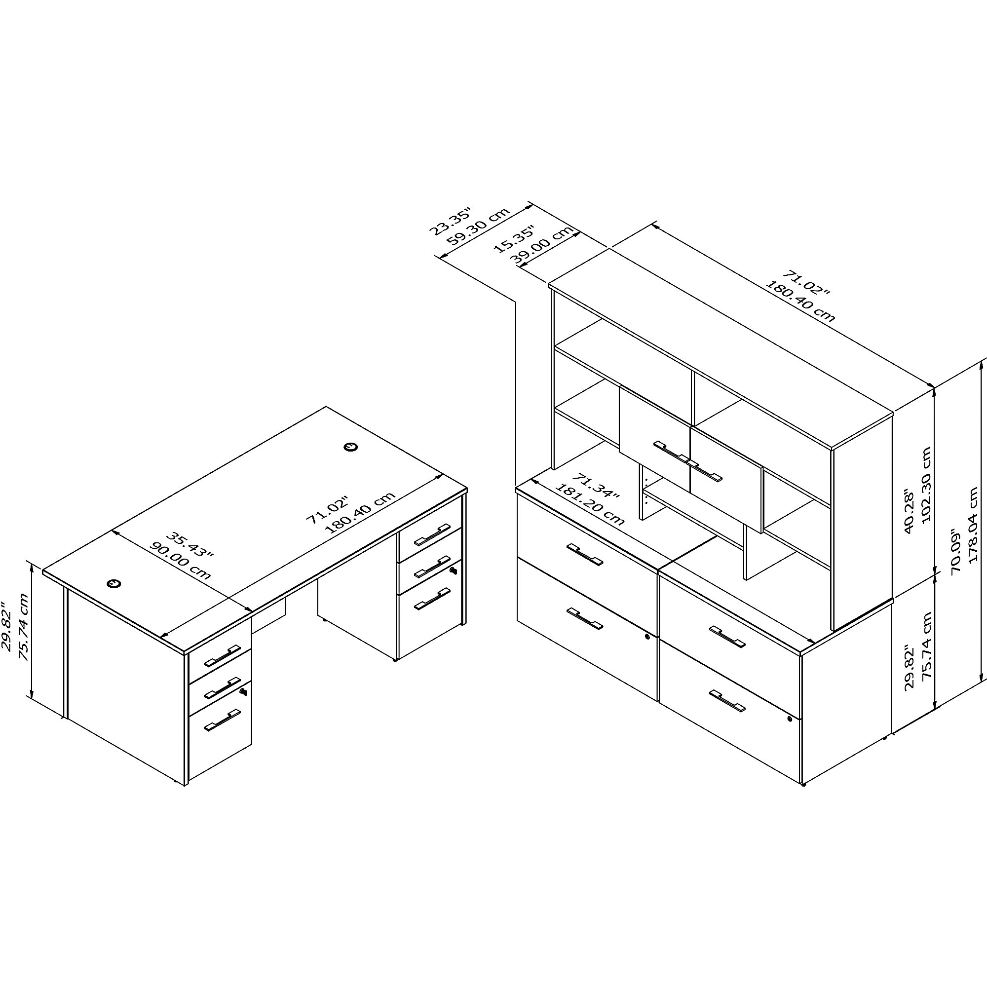office 500 executive suite line drawing and dimensions