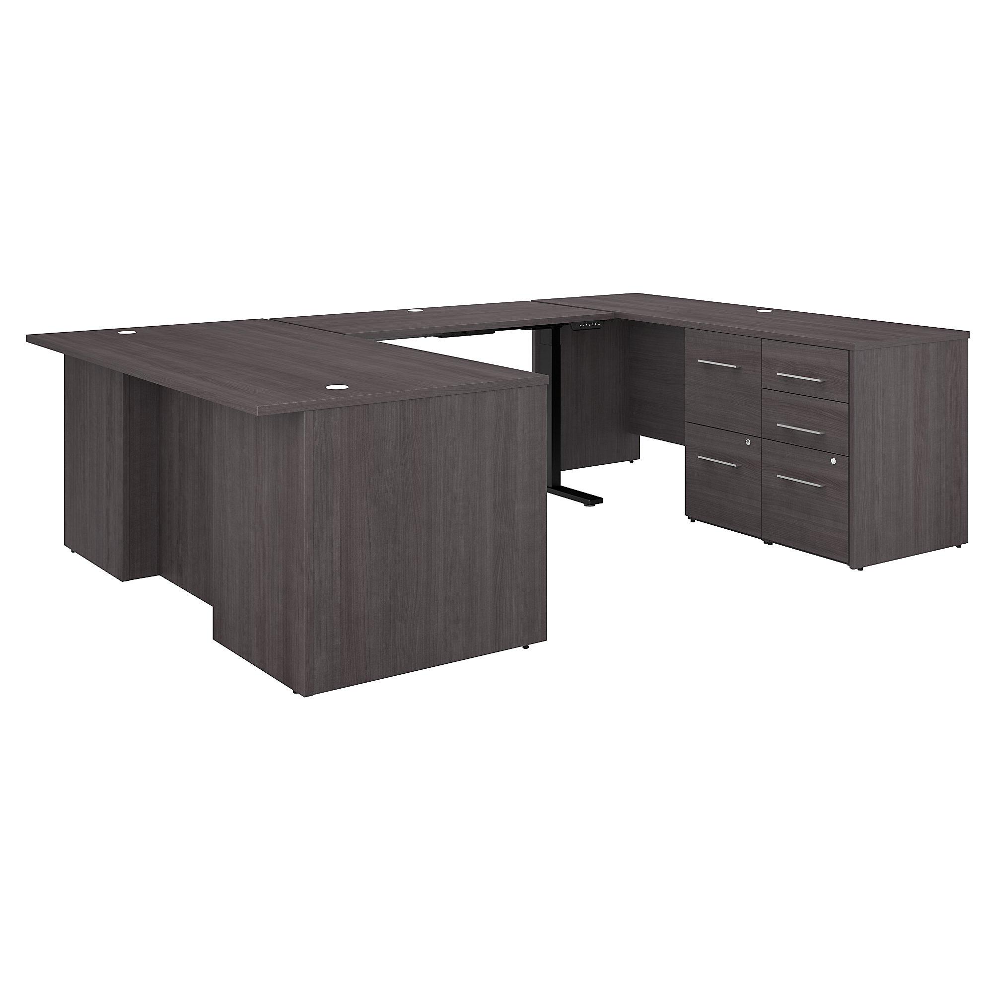 height adjustable office 500 u-desk in storm gray