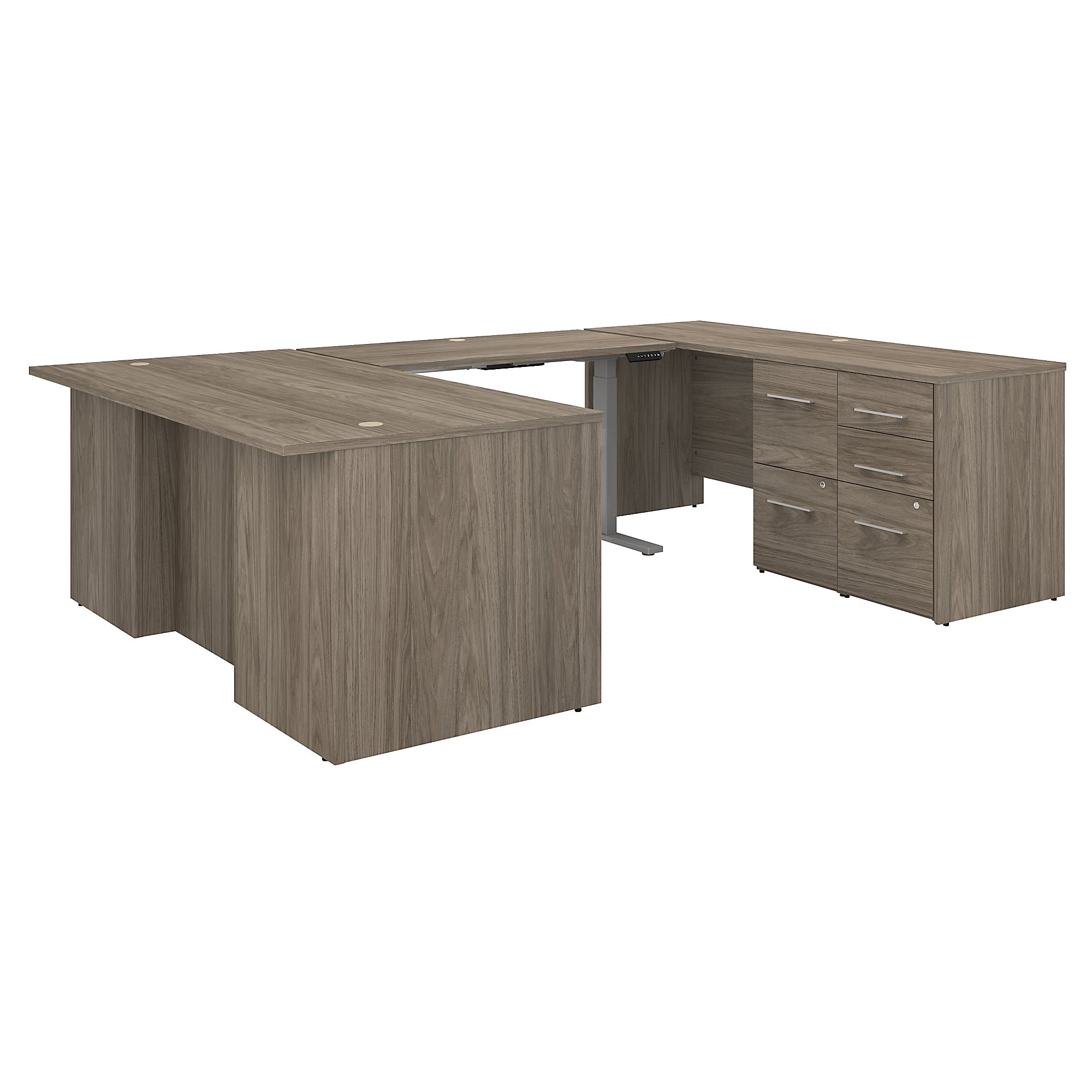 height adjustable office 500 u-desk in modern hickory