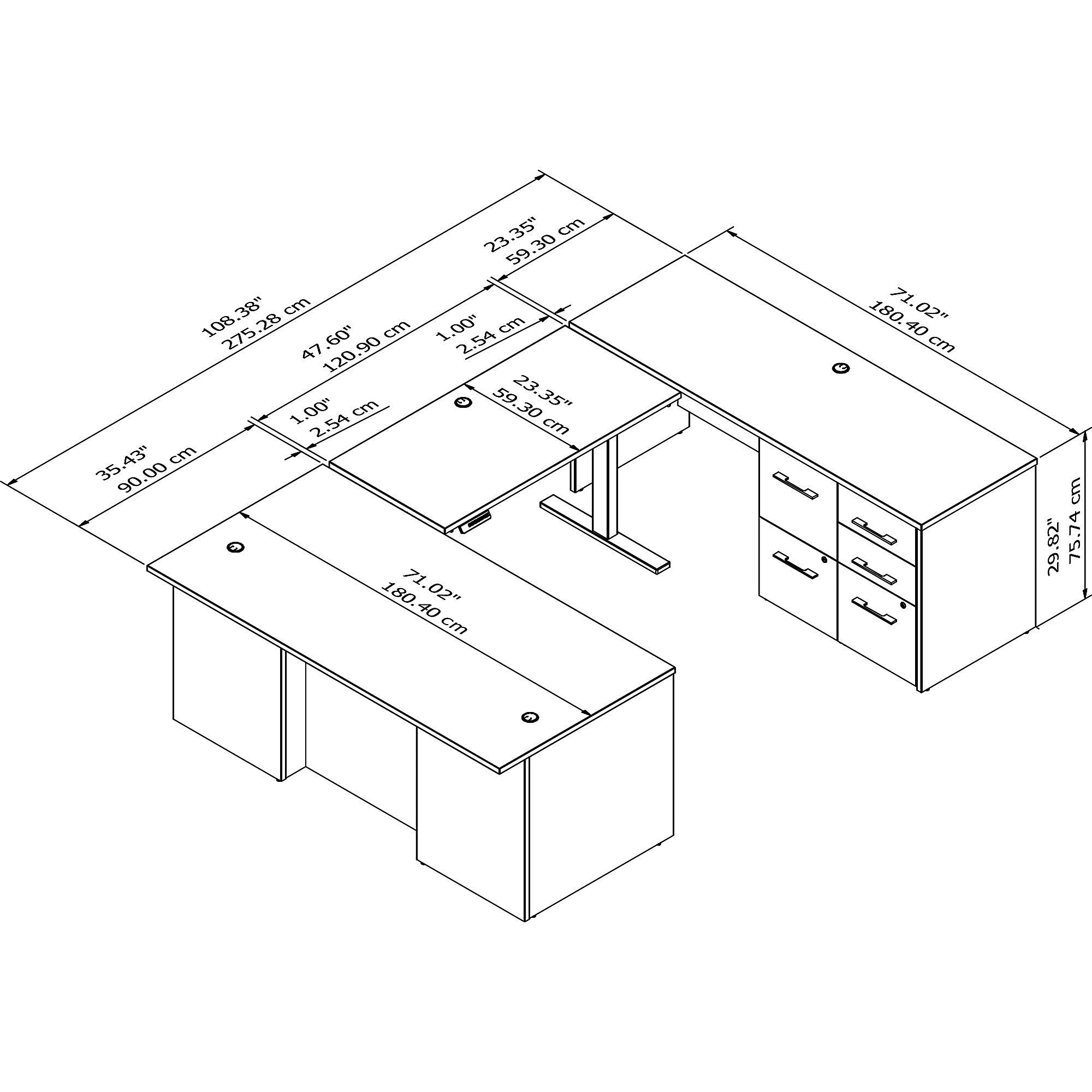 height adjustable office 500 u-desk dimensions