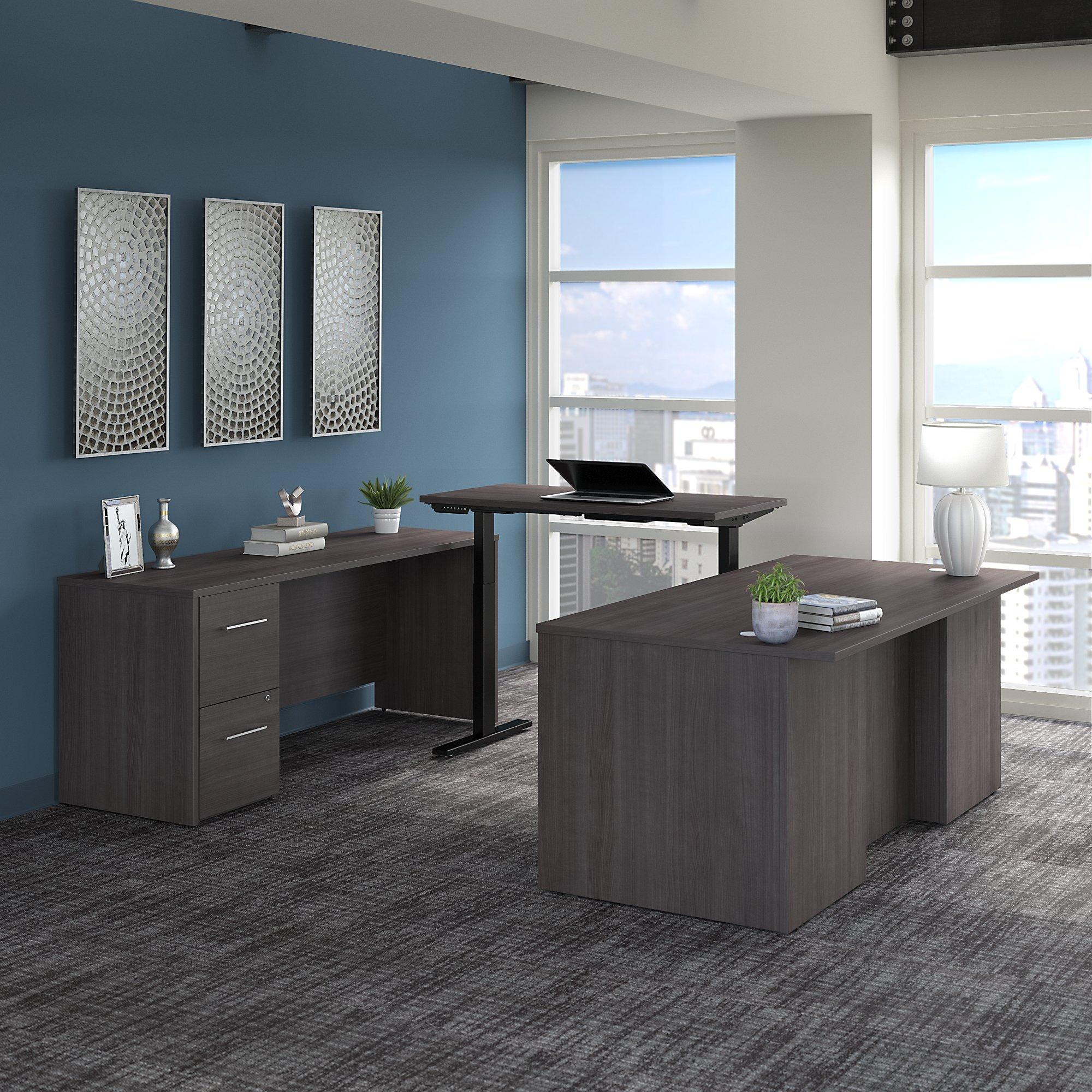 storm gray height adjustable office 500 u-desk