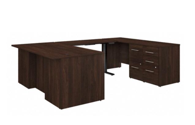 height adjustable office 500 u-desk in black walnut