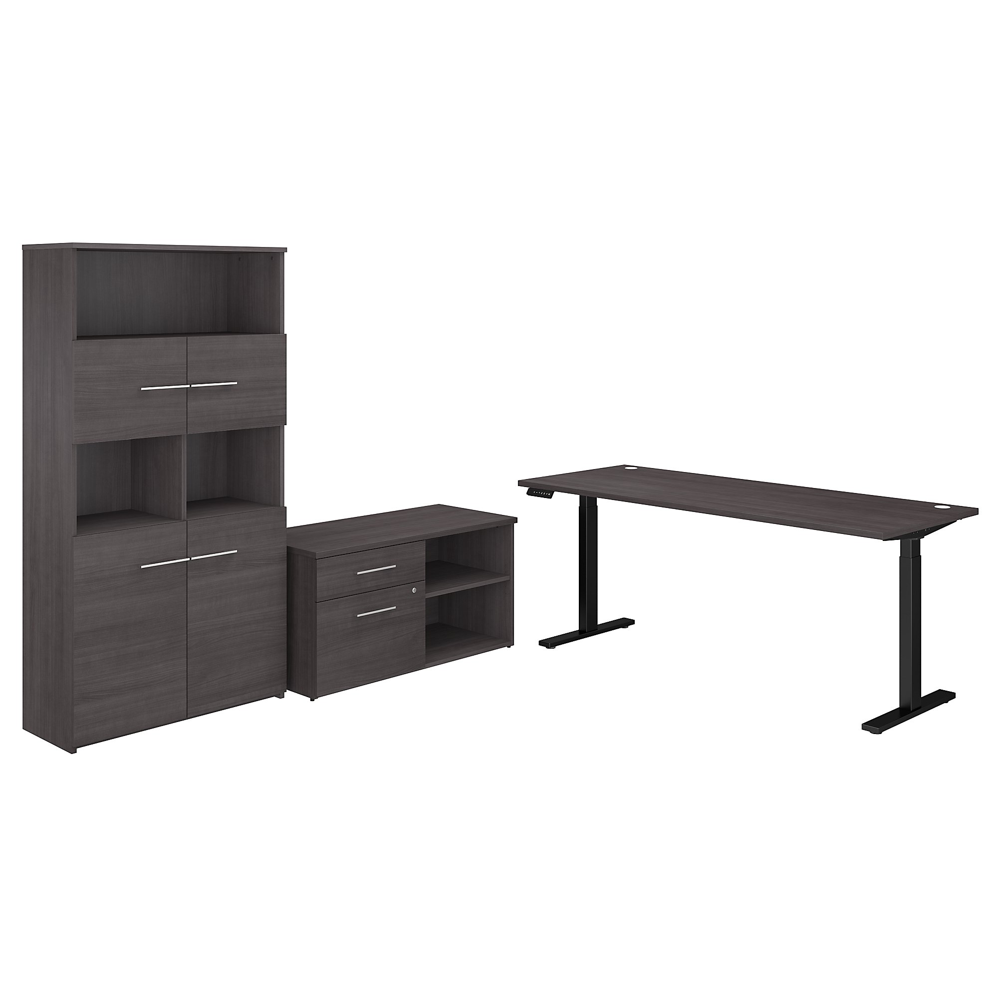 variable height office 500 desk with bookcase in storm gray