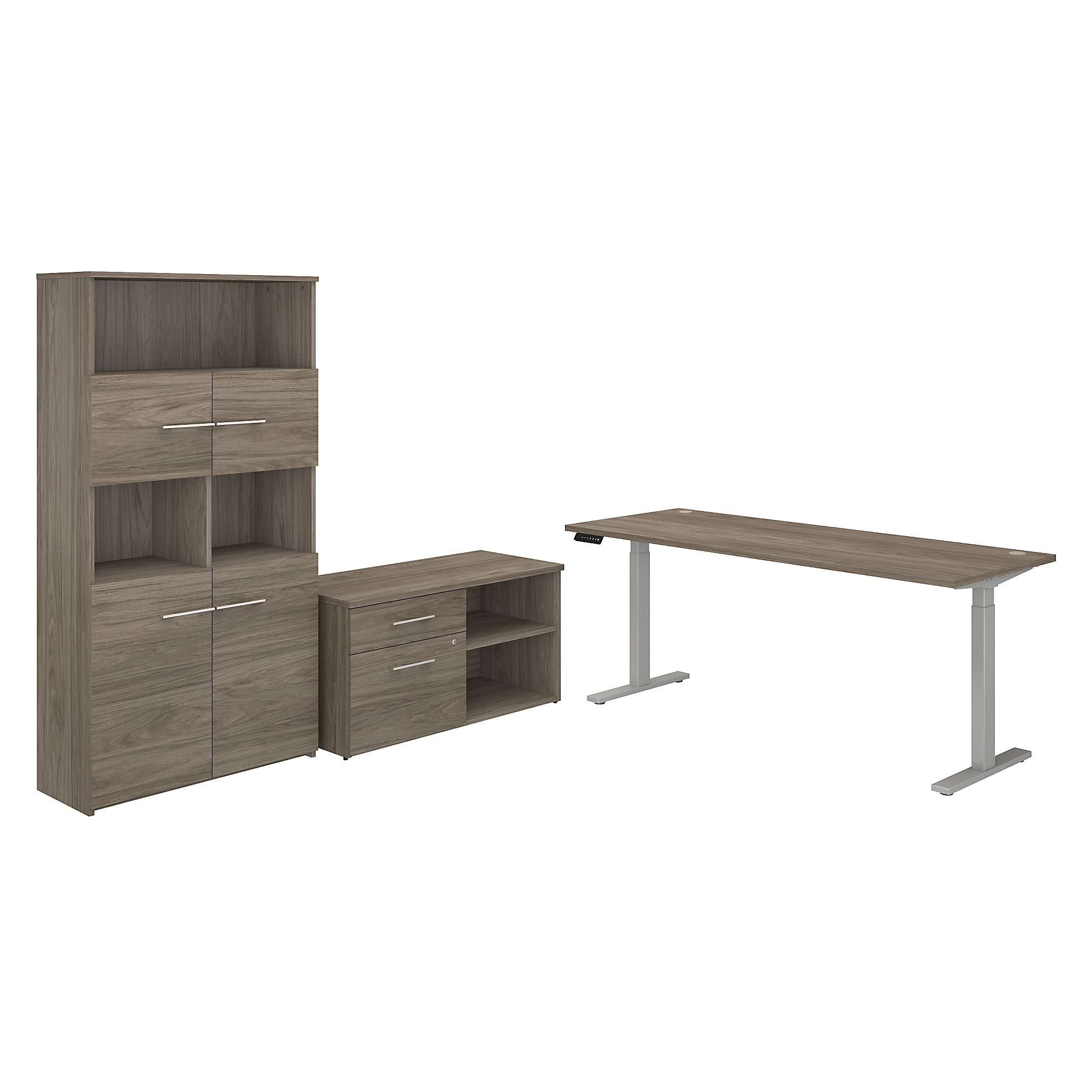 variable height office 500 desk with bookcase in modern hickory