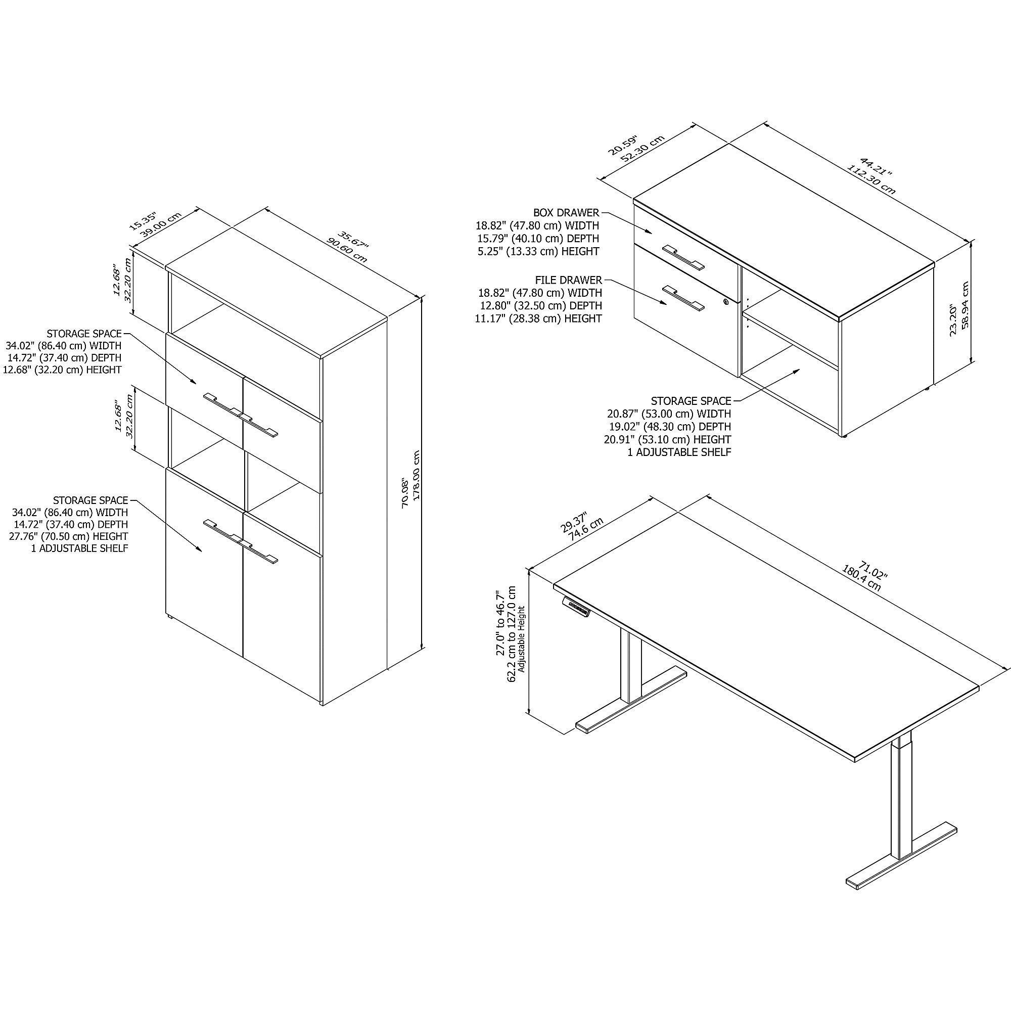 variable height office 500 desk with bookcase dimensions