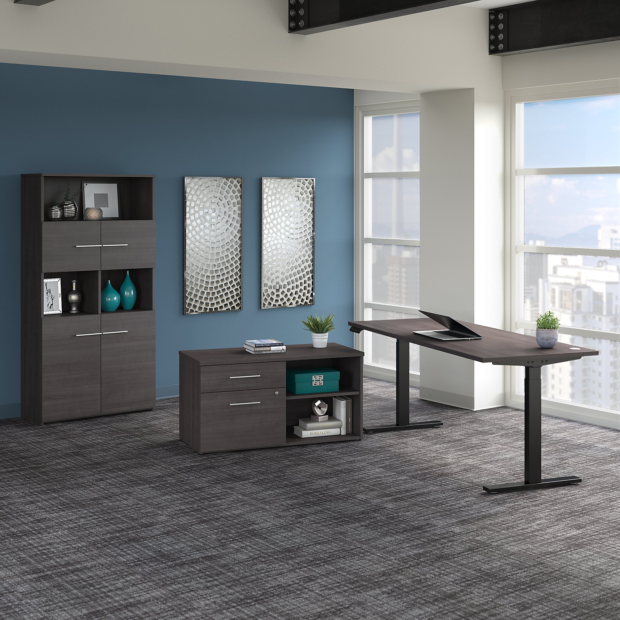 storm gray variable height office 500 desk with bookcase