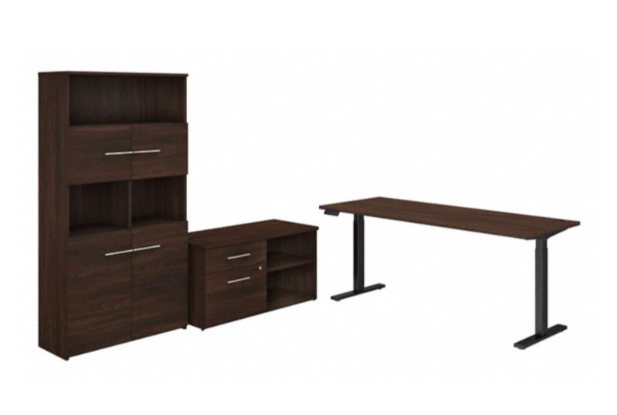 variable height office 500 desk with bookcase in black walnut