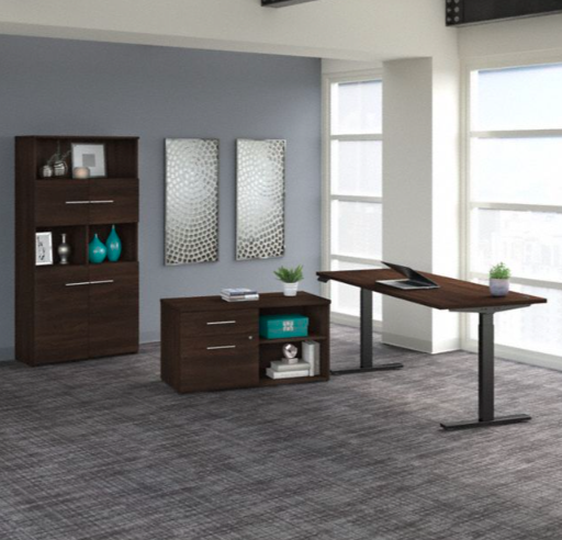 black walnut variable height office 500 desk with bookcase