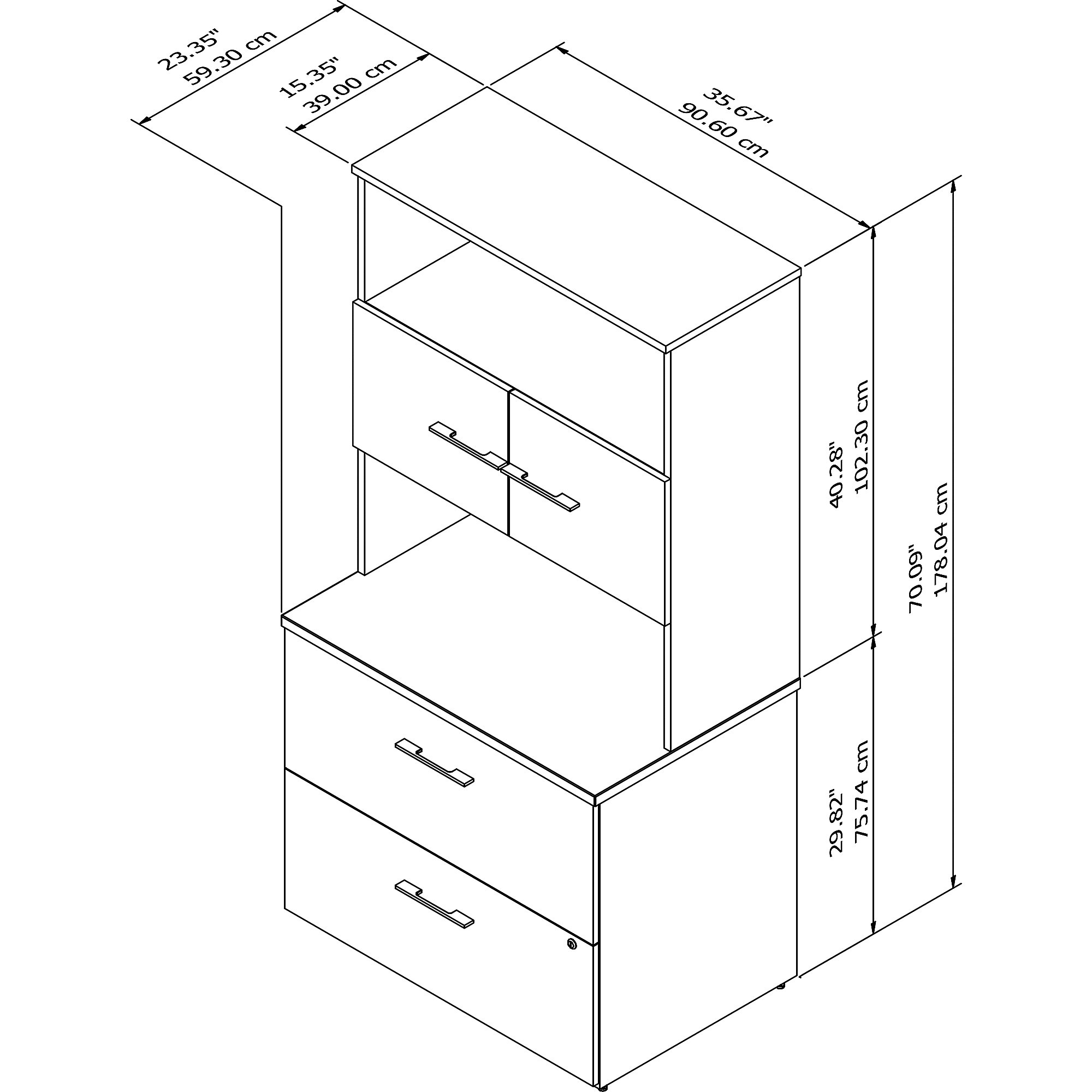 office 500 bookcase with lateral file dimensions