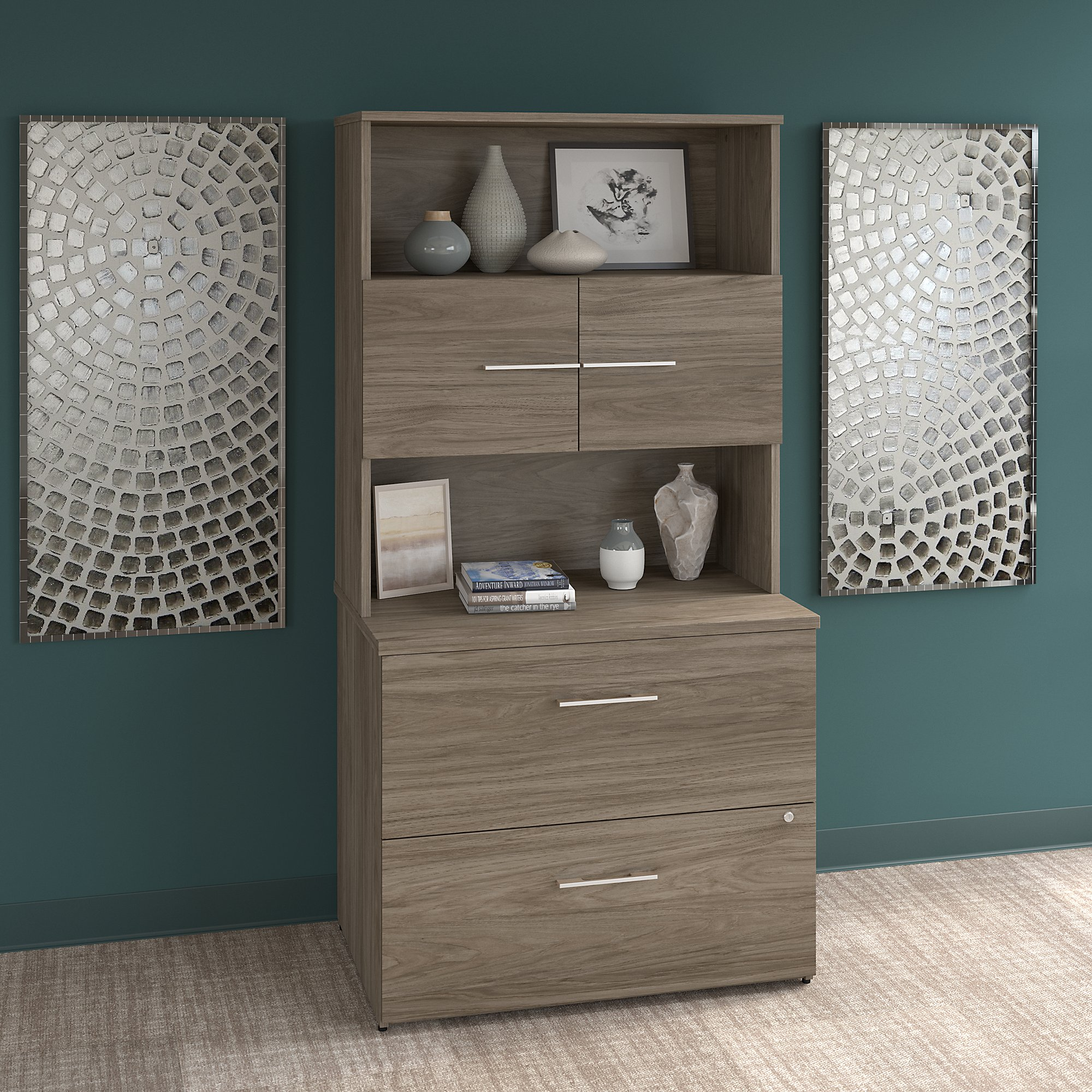 office 500 bookcase with lateral file in modern hickory