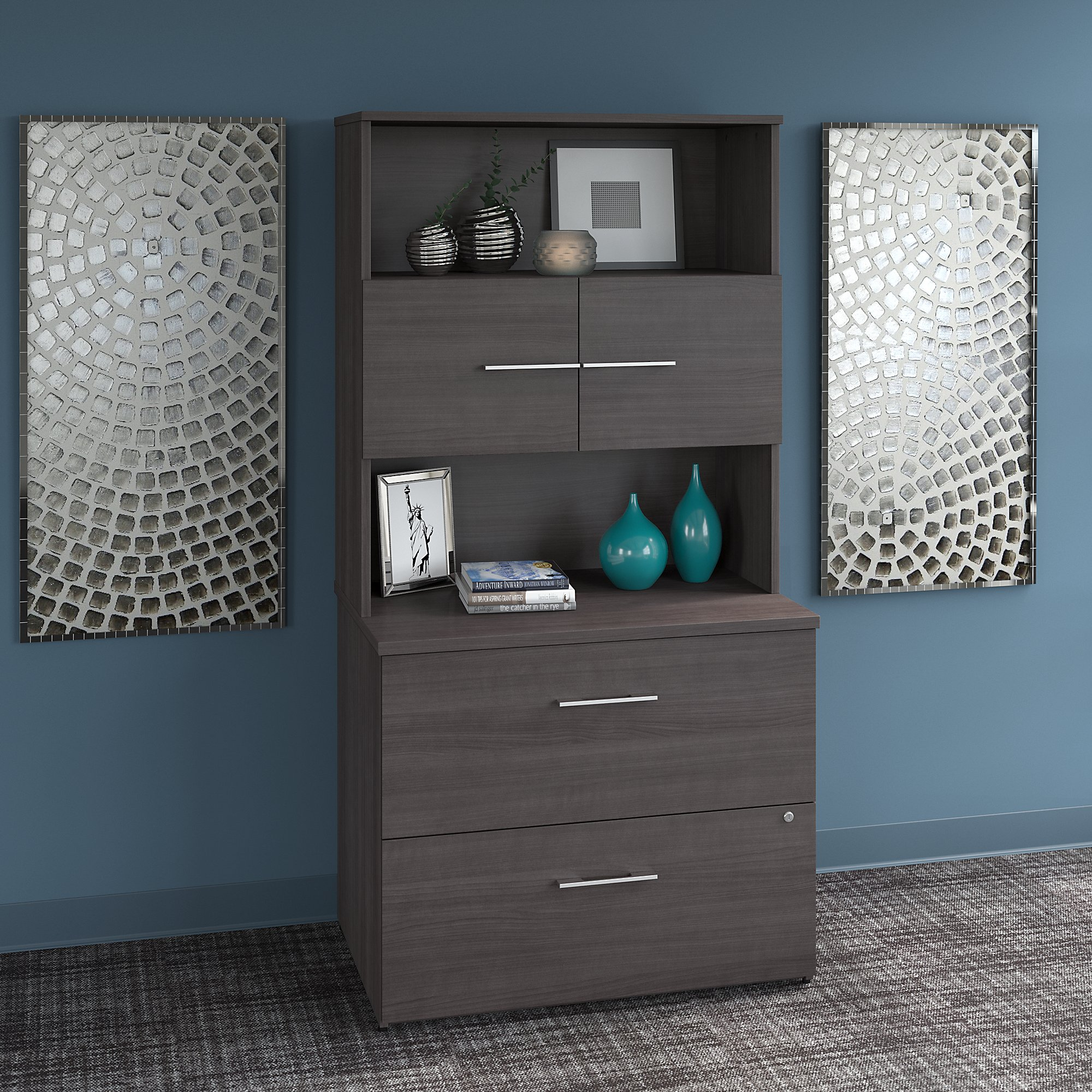 office 500 bookcase with lateral file in storm gray