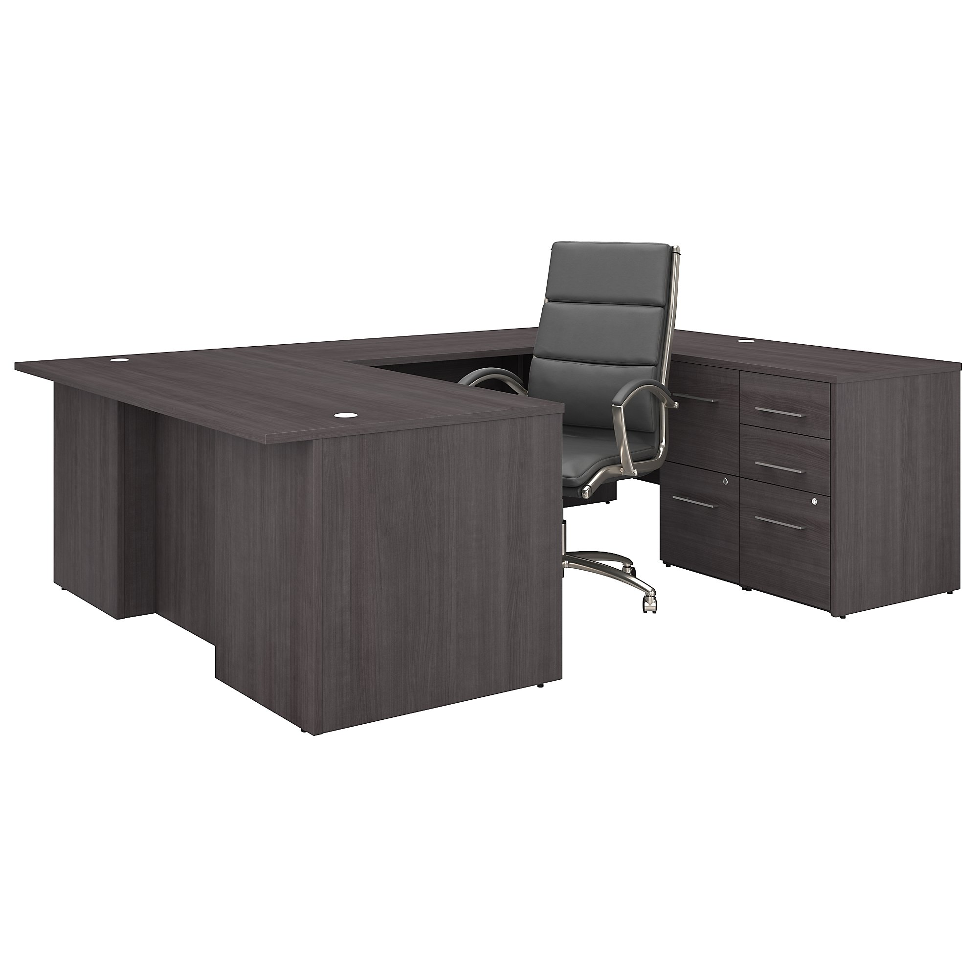 office 500 complete executive desk and chair set in storm gray