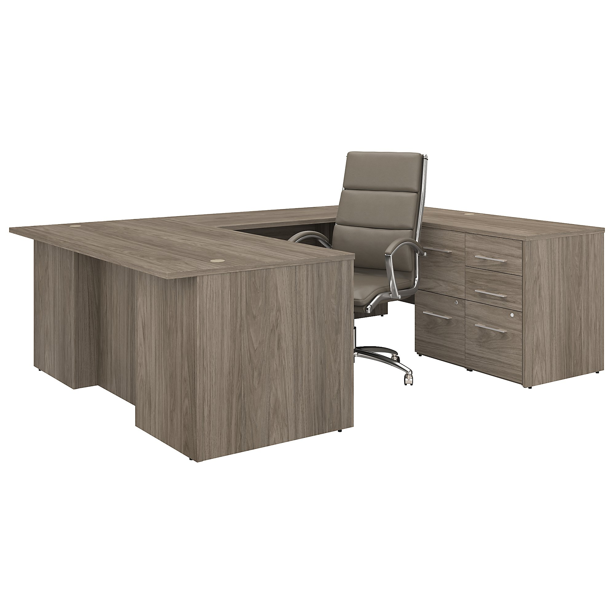 office 500 complete executive desk and chair set in modern hickory