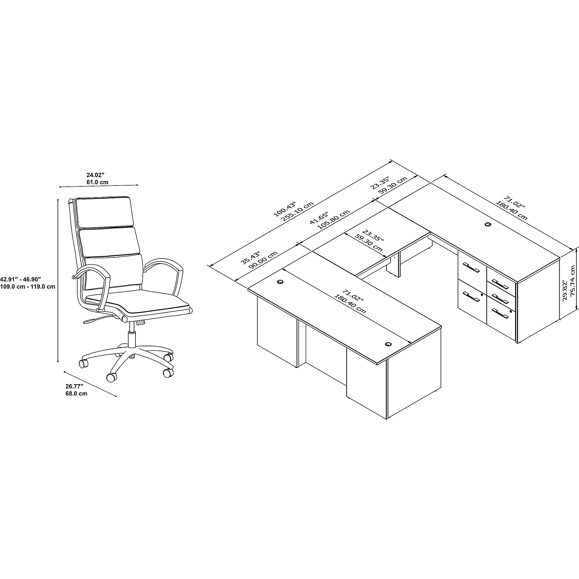 office 500 complete executive desk and chair set dimensions