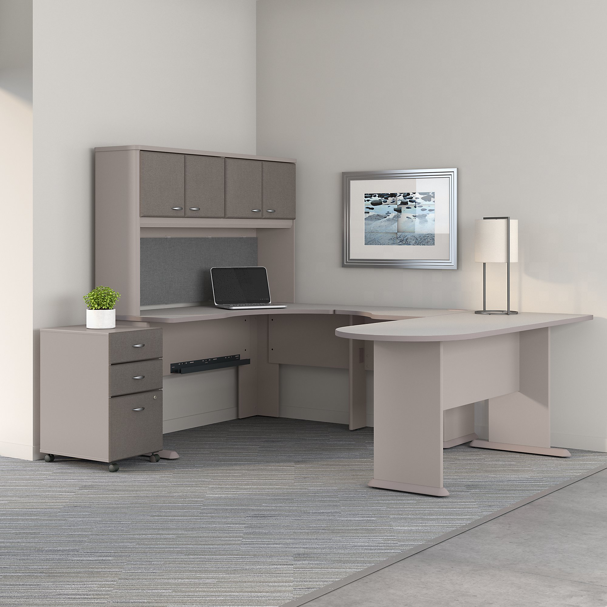 pewter series a u shaped desk with hutch