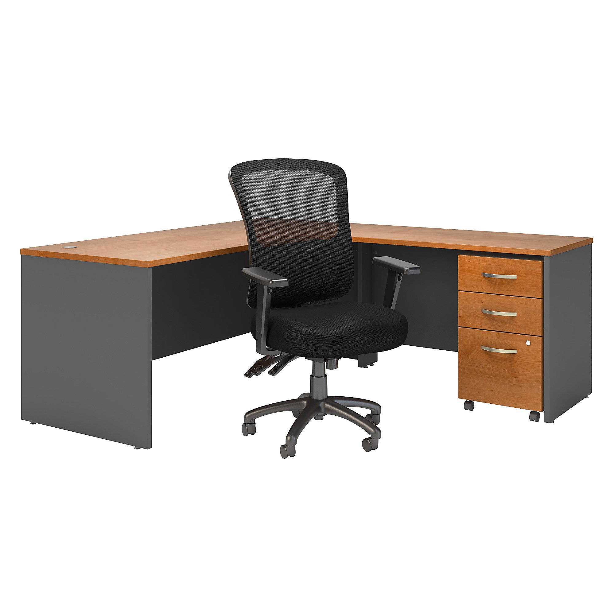series c l desk with multifunction mesh chair in natural cherry