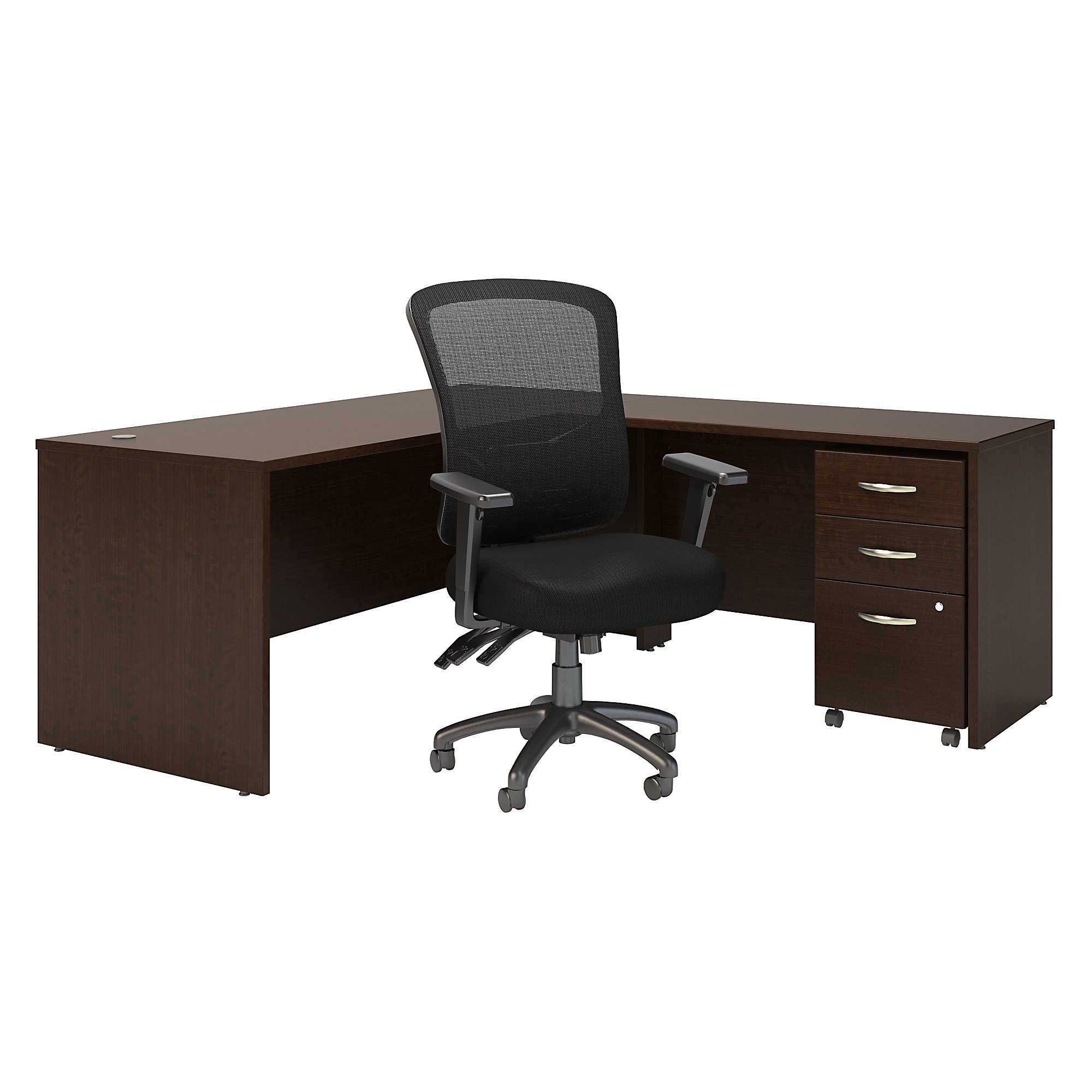 series c l desk with multifunction mesh chair in mocha cherry