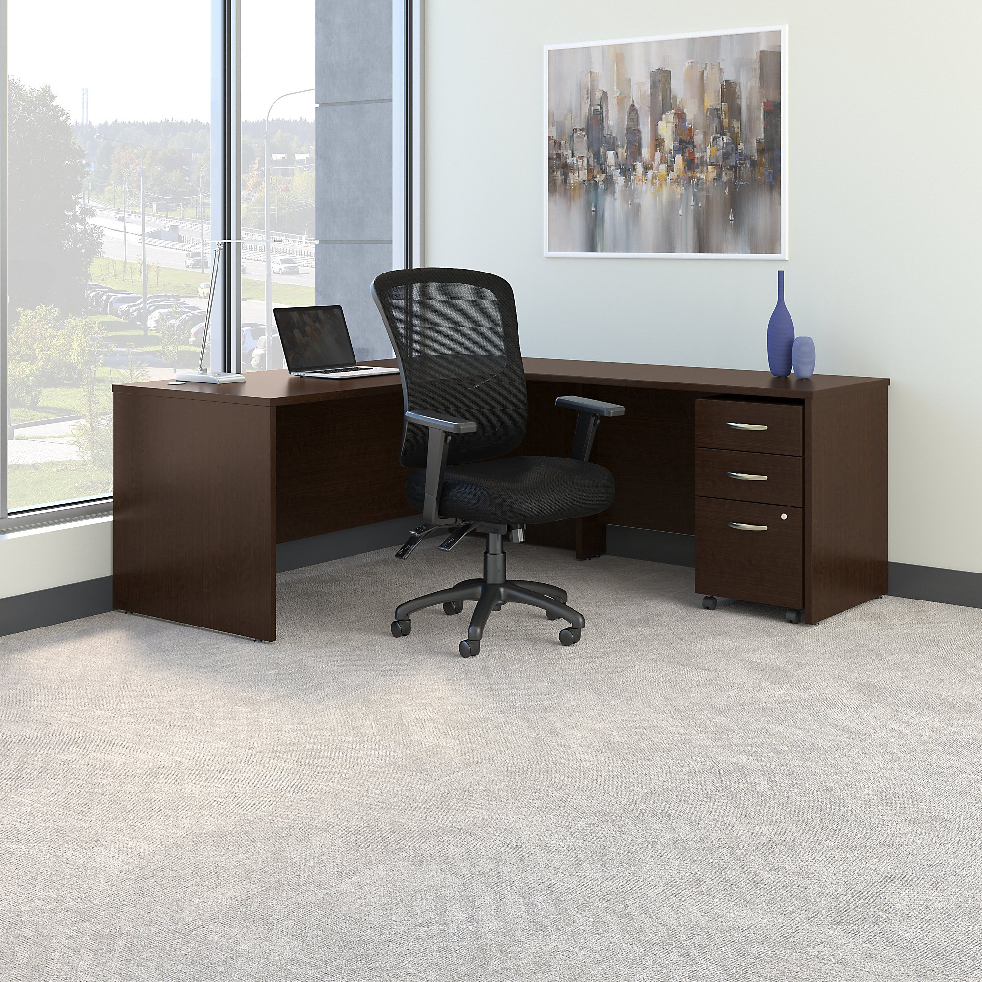 mocha cherry series c l desk with multifunction mesh chair