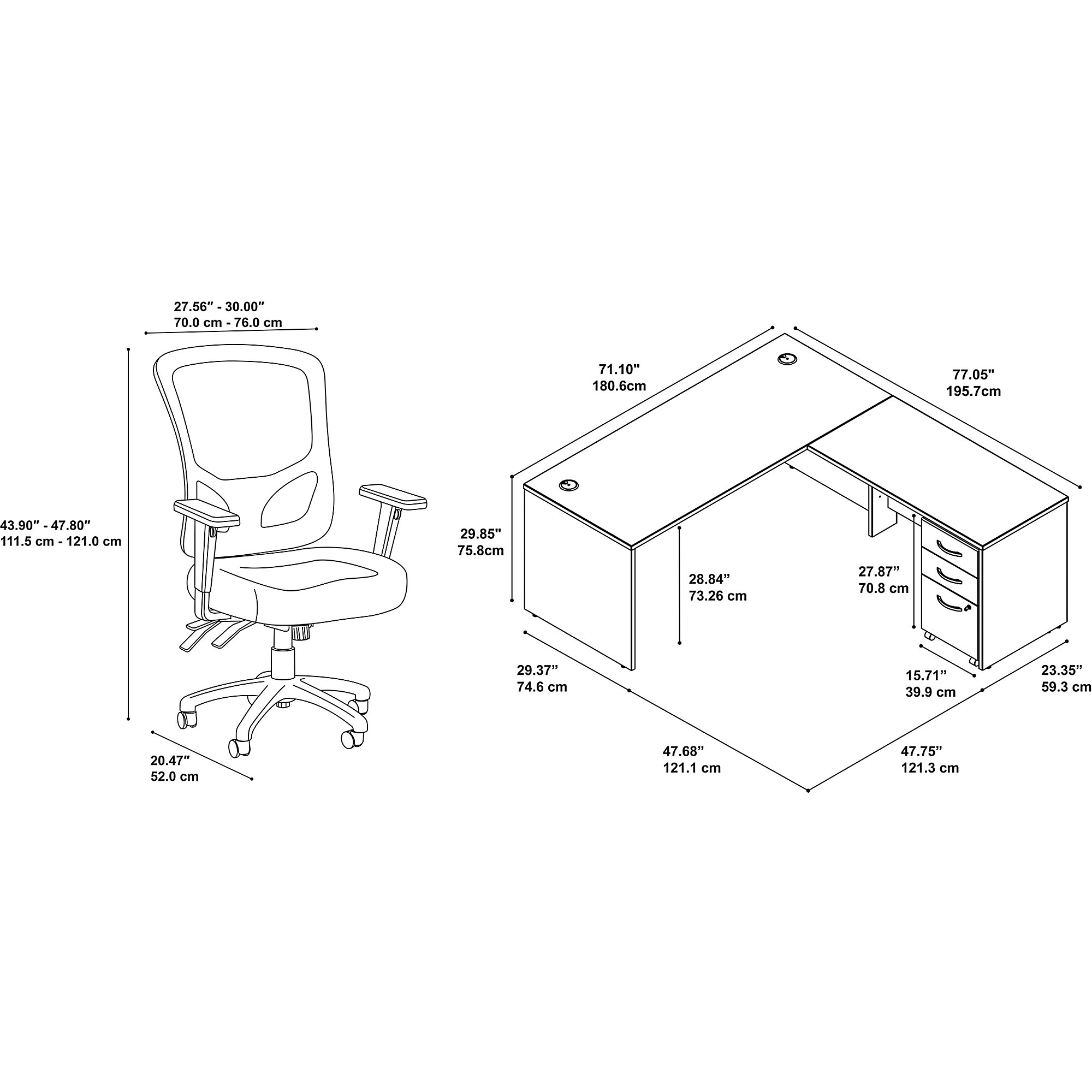 series c l desk with multifunction mesh chair dimensions