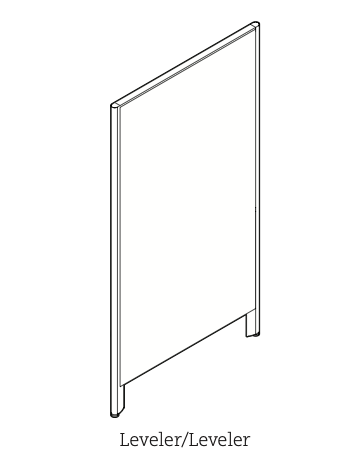 privacy panel with two leveler legs