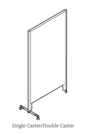 privacy panel with double caster leg and single caster leg