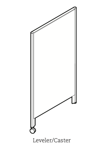 privacy panel with single caster leg and leveler leg