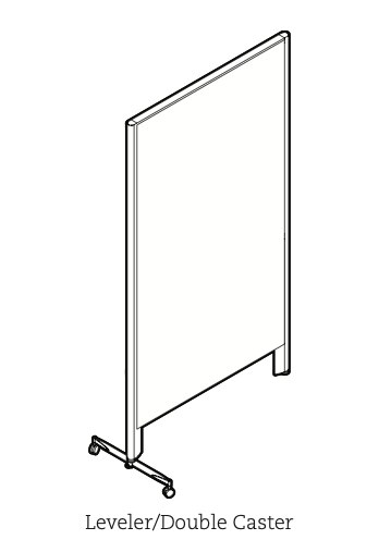 privacy panel with double caster leg and leveler leg