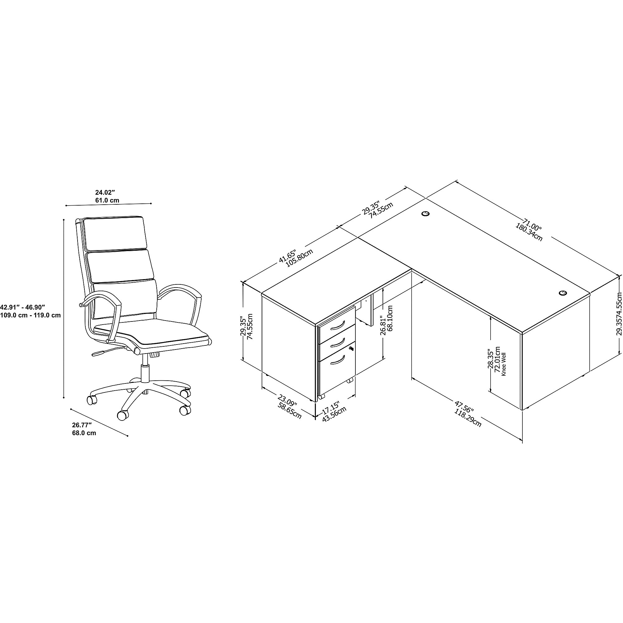 studio c l desk with chair dimensions