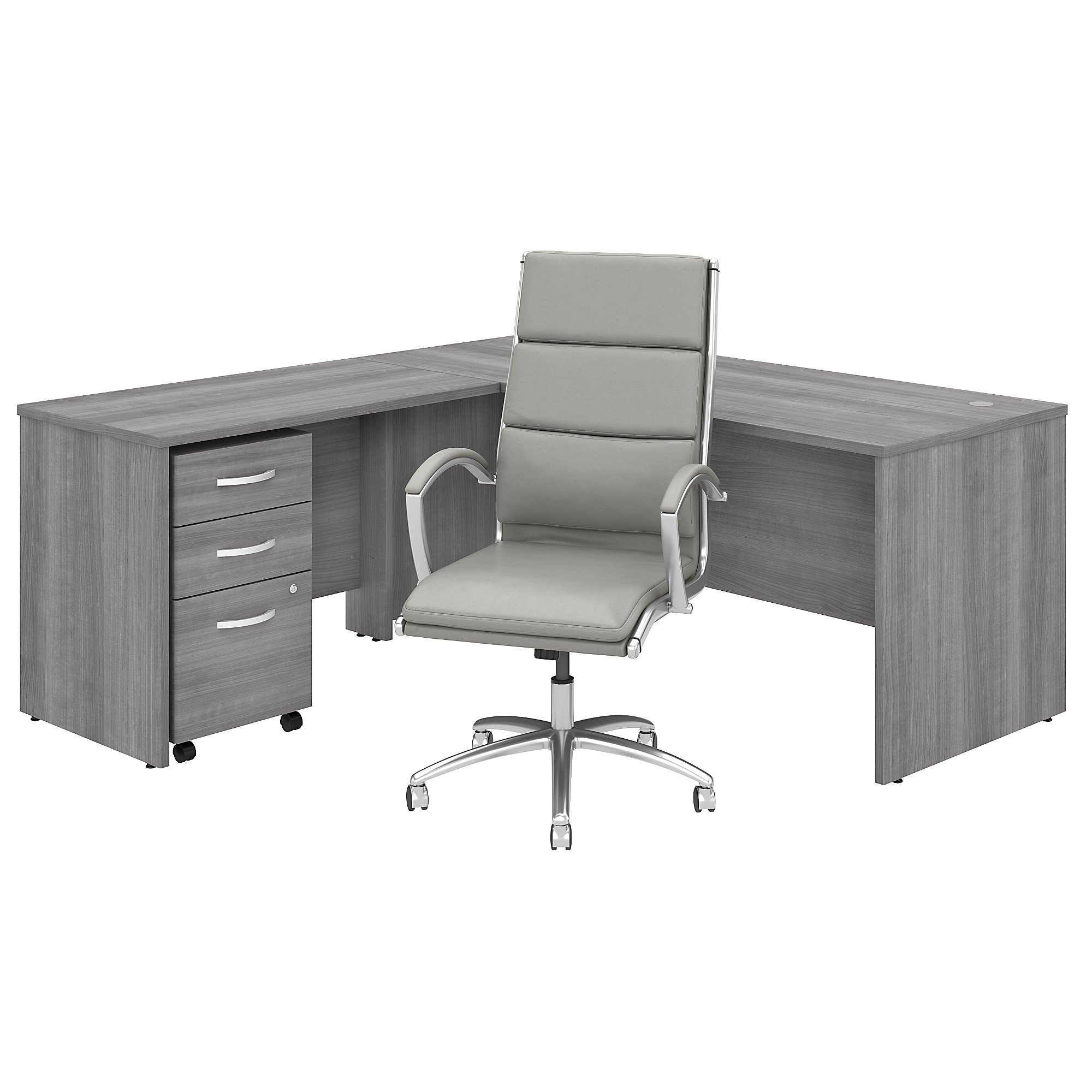 studio c l desk with chair in platinum gray