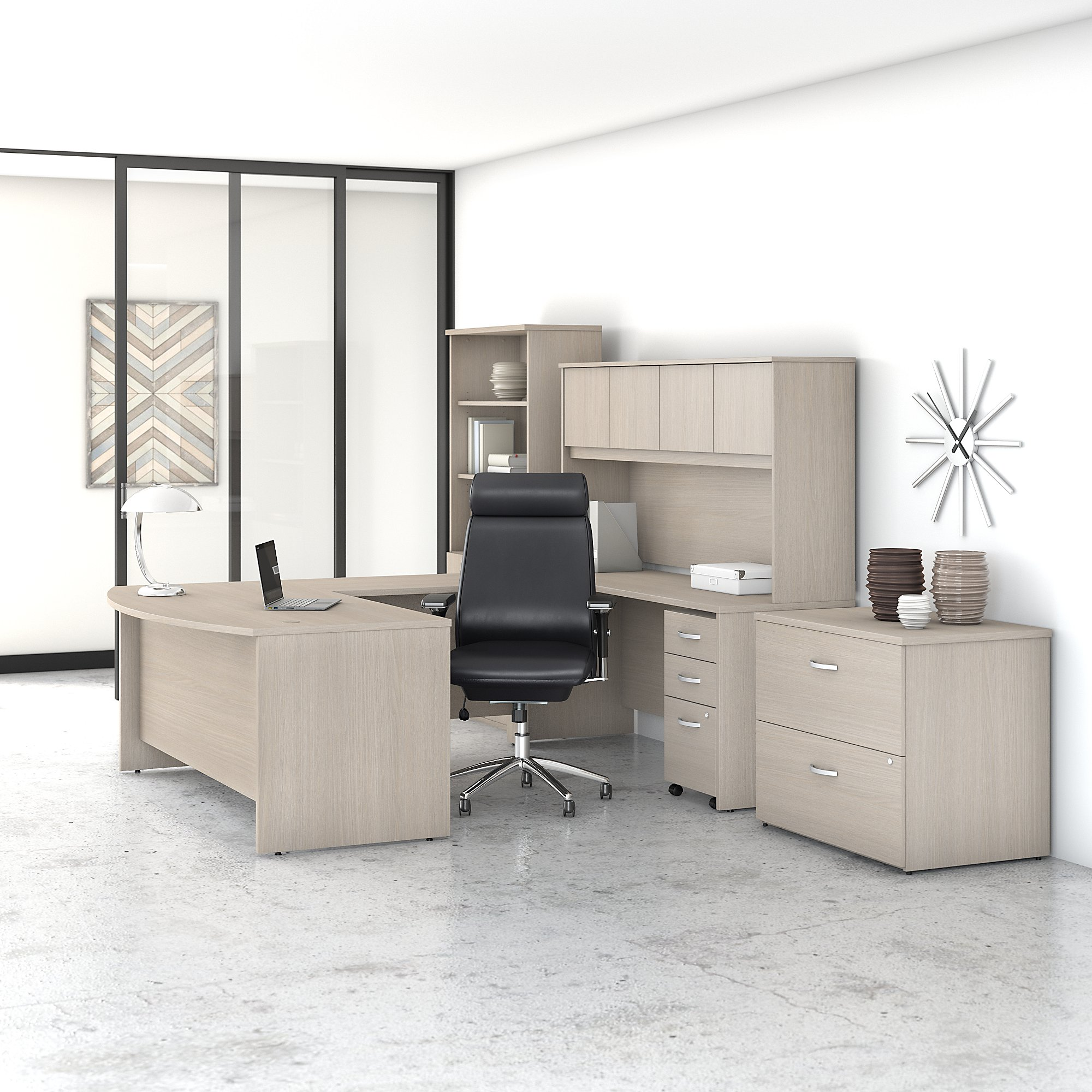 Image of: Bush Business Furniture Studio C Modern U Shaped Desk With Hutch Bookcase File Cabinets And High Back Office Chair