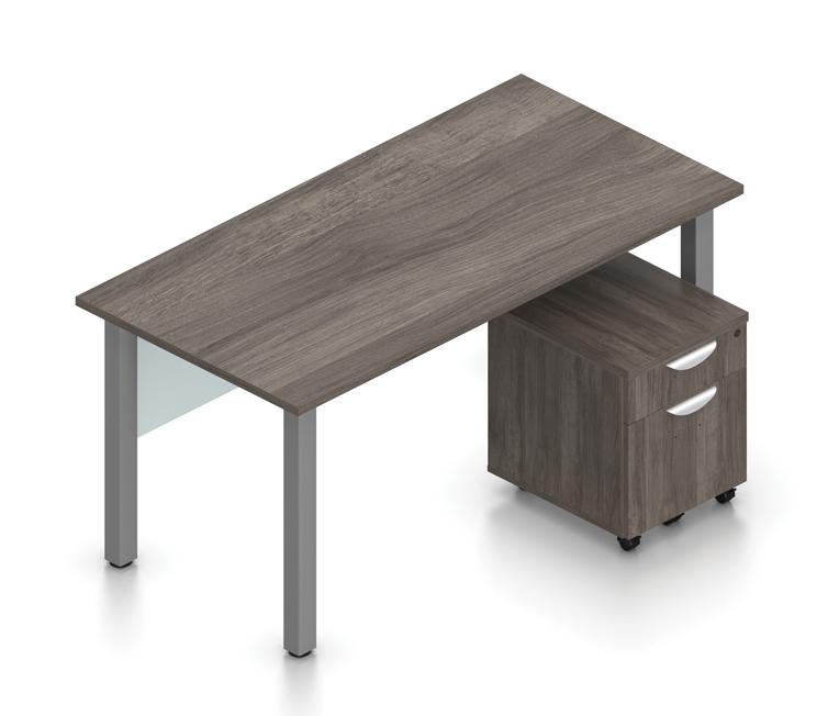 superior laminate desk with pedestal in artisan gray