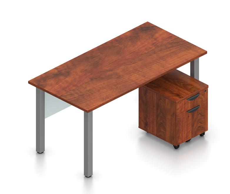 superior laminate desk with pedestal in dark cherry