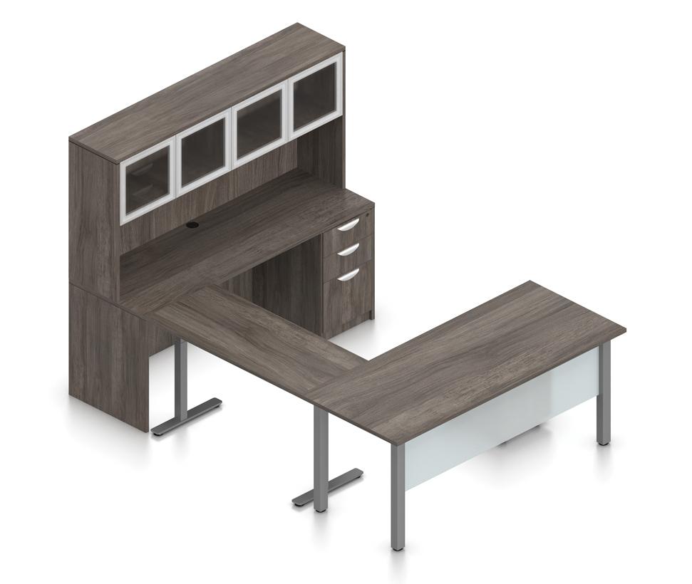superior laminate ergonomic u-desk in artisan gray