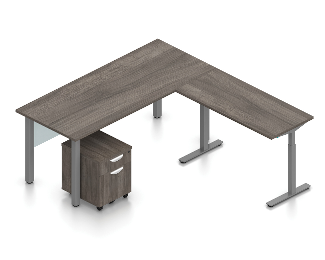 artisan gray superior laminate reversible l-desk with height adjustable bridge