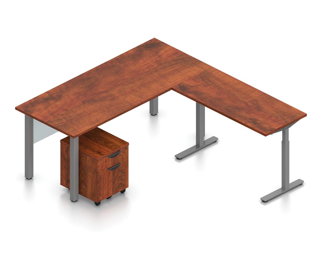 dark cherry superior laminate reversible l-desk with height adjustable bridge
