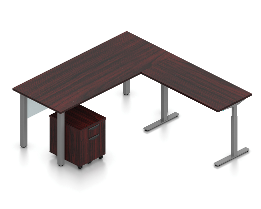 mahogany superior laminate reversible l-desk with height adjustable bridge