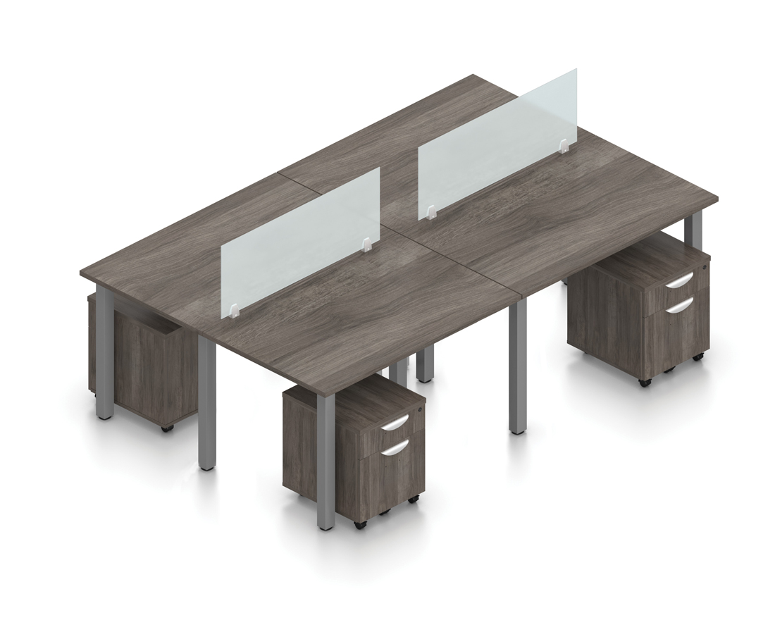 artisan gray 4 person open concept collaborative benching workstation