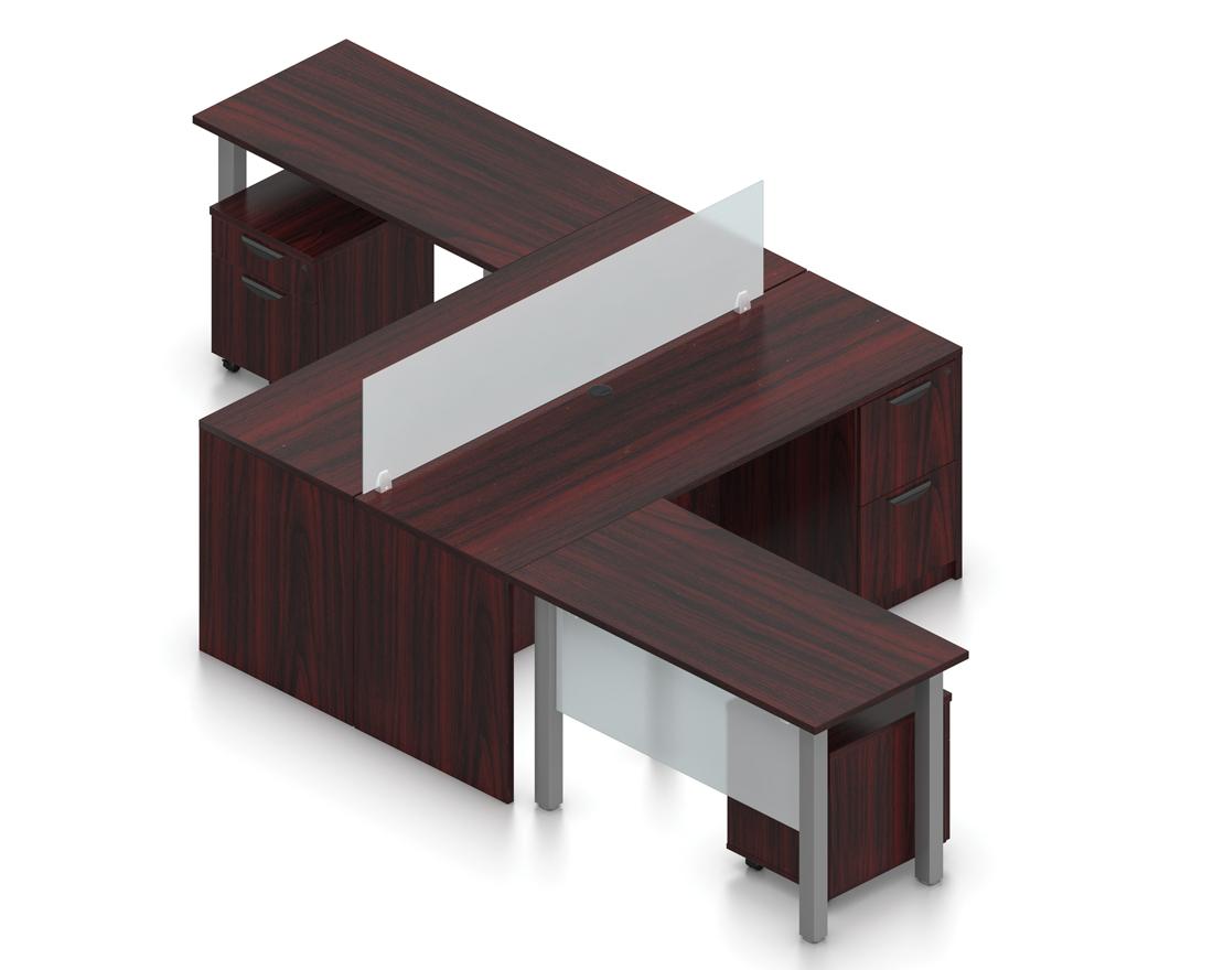 mahogany 2 person double l desk with divider screen