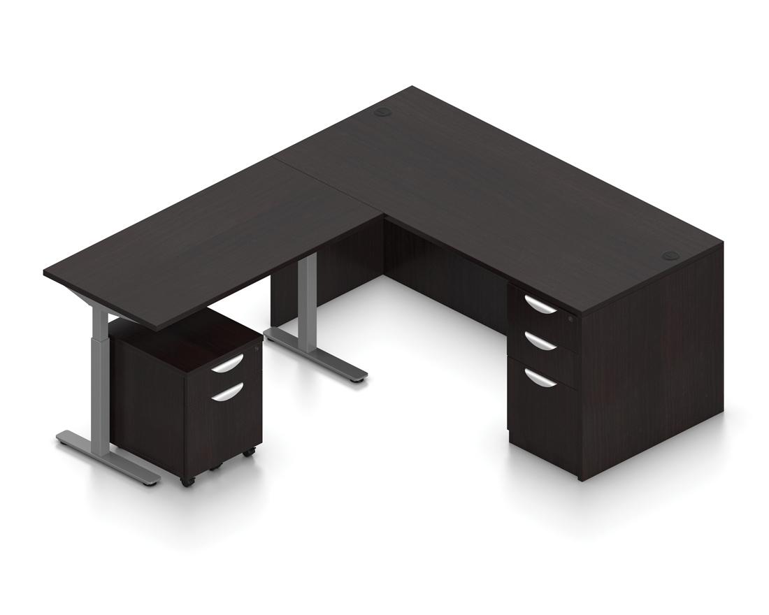 espresso ergonomic l shaped desk