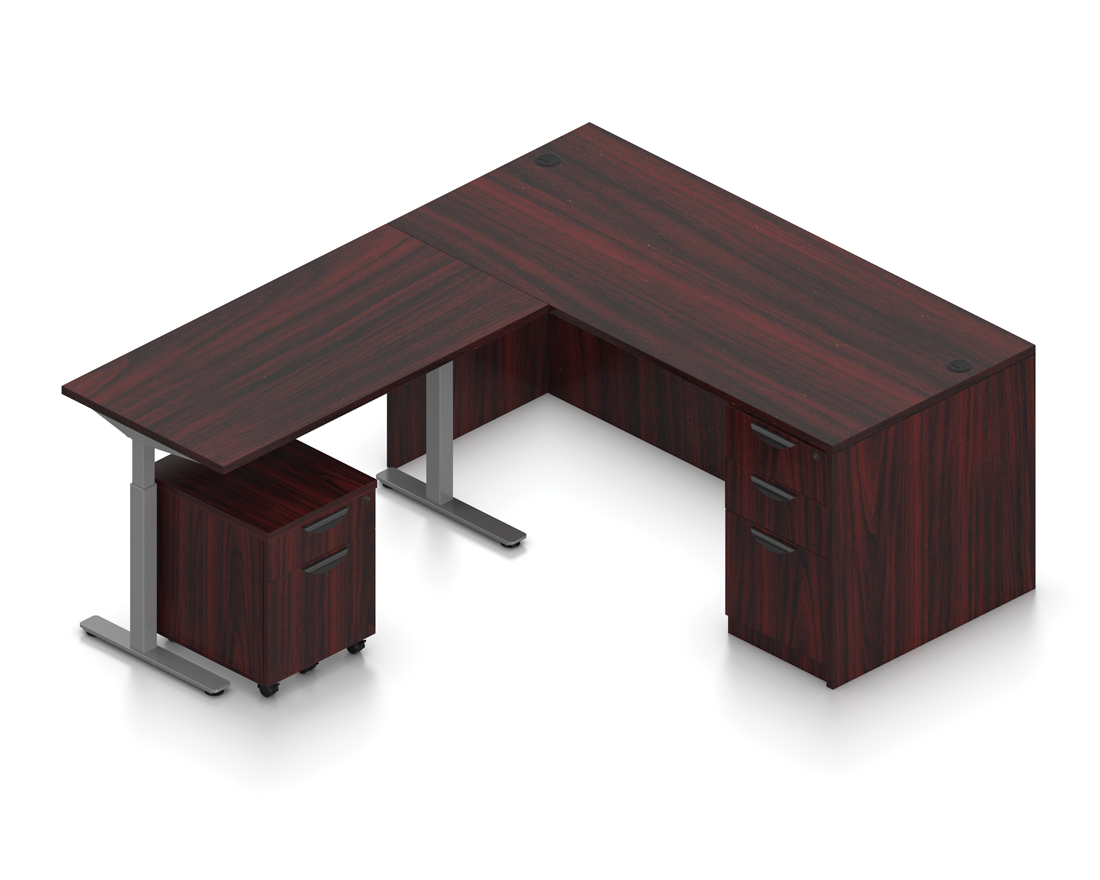 mahogany ergonomic l shaped desk