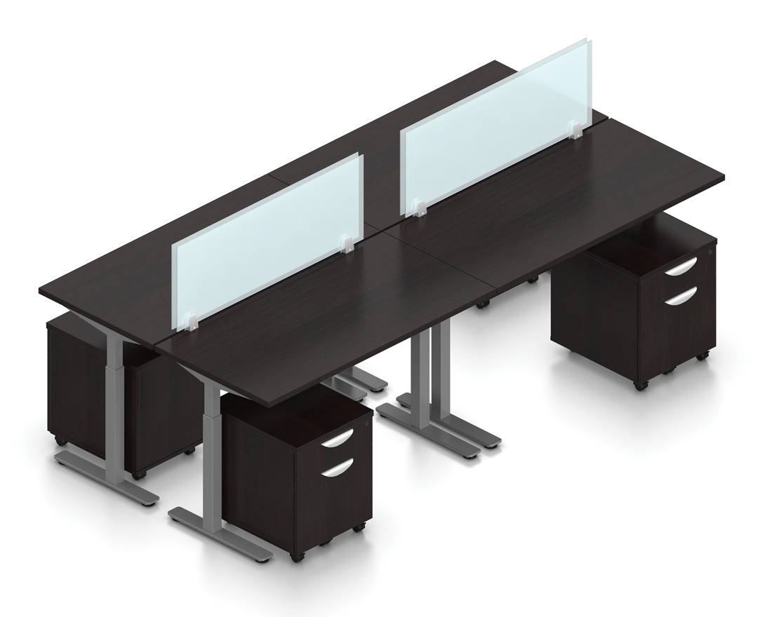 espresso 4 person height adjustable ergonomic workstation