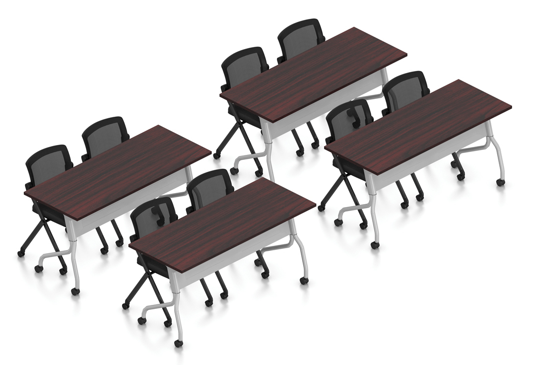mahogany 8 person training room table and chair set