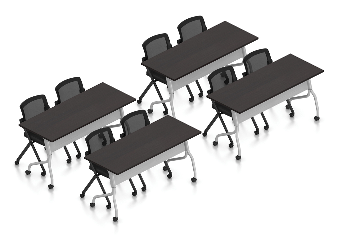 espresso 8 person training room table and chair set