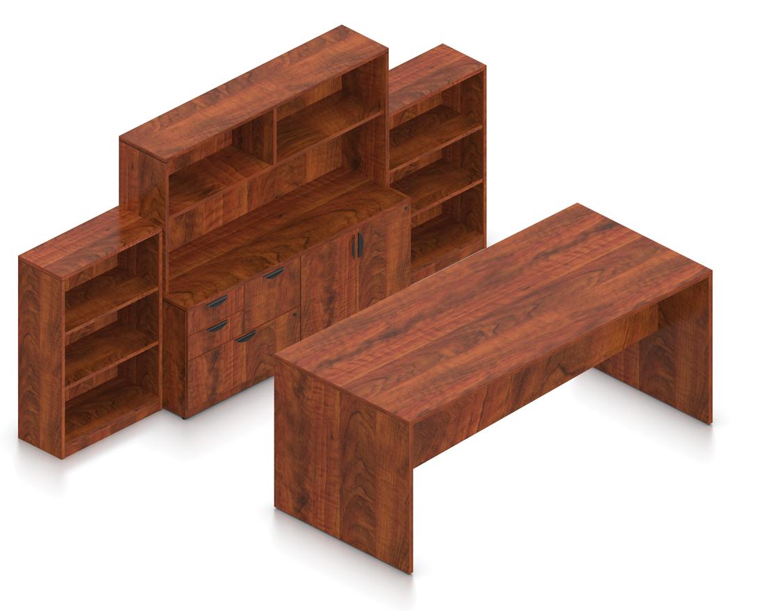 dark cherry laminate collaborative standing table with storage