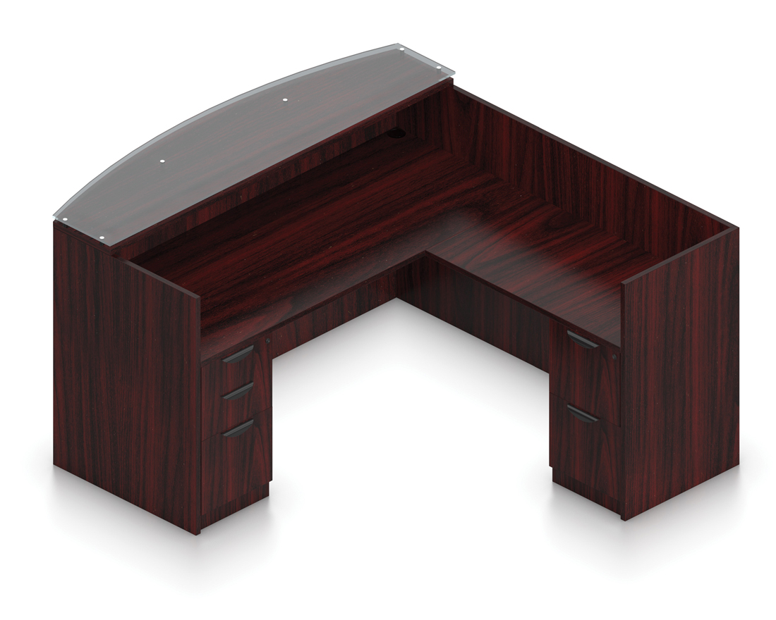 mahogany reversible l shaped reception desk with glass top