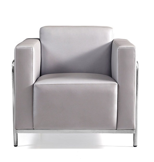 keef lounge chair front view - silver