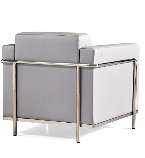 keef lounge chair back view - silver