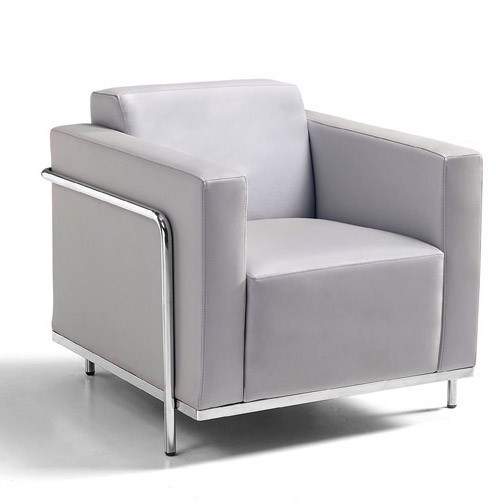 keef lounge chair angled view - silver